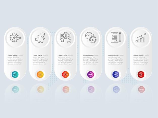 Modello di elemento di presentazione infografica orizzontale con opzioni icona di affari 6