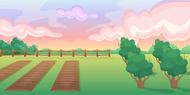 Paesaggio orizzontale di un campo con letti e un giardino di frutti e bacche.