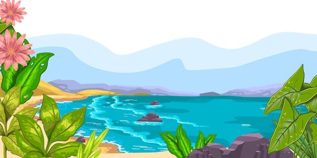 Paesaggio orizzontale con oceano, spiaggia, colline, rocce, piante tropicali, fiori e spazio di copia