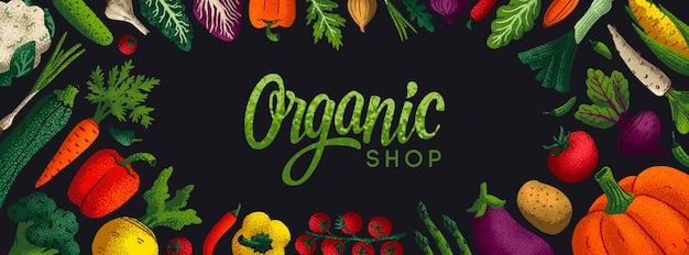 Banner orizzontale del negozio biologico Vettore Premium