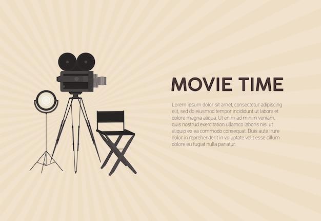 Modello di poster orizzontale per festival cinematografico con fotocamera a pellicola retrò in piedi su treppiede