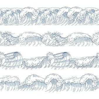 Modelli senza cuciture orizzontali con diverse onde dell'oceano. set di immagini disegnate a mano. modello d'onda dell'oceano e del mare