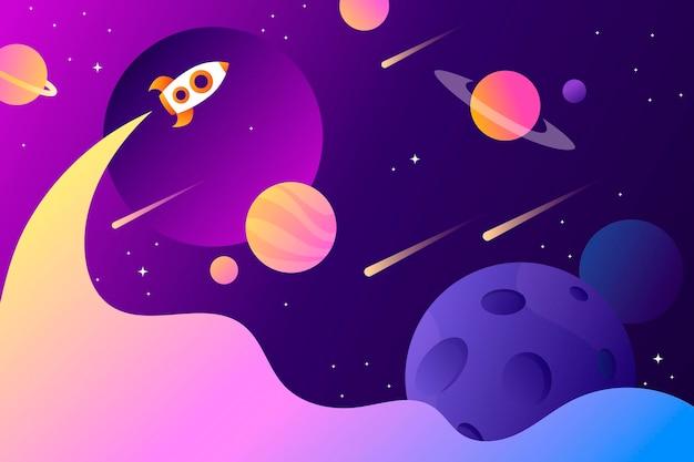 Sfondo spazio orizzontale con forma astratta e pianeti