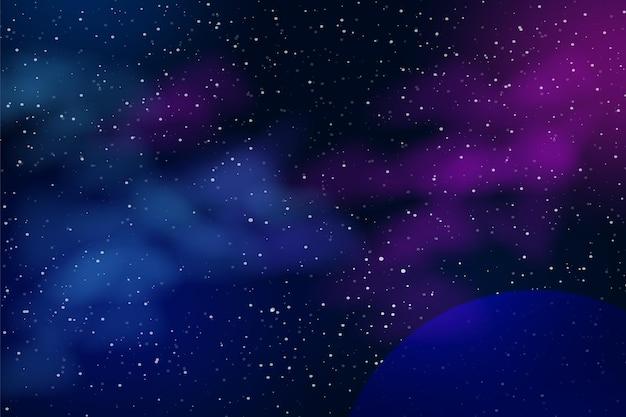 Sfondo spazio orizzontale con nebulosa realistica, polvere di stelle e pianeti. cielo notturno.