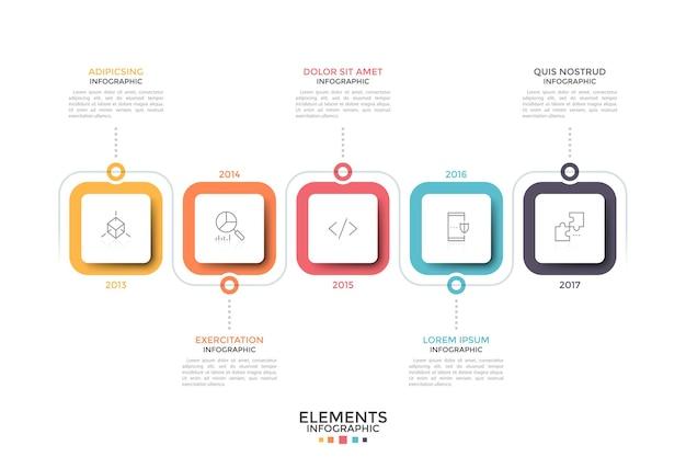 Cronologia orizzontale. cinque quadrati multicolori con icone a linea sottile all'interno e indicazione dell'anno. concetto di sviluppo annuale o storia dell'azienda. modello di progettazione infografica.