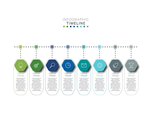 Modello di infografica timeline orizzontale con elementi multicolori esagonali in colore piatto