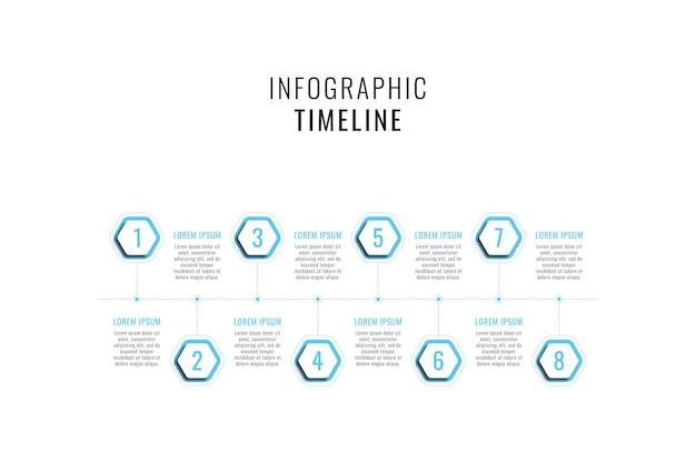Modello di infografica timeline orizzontale con elementi esagonali azzurri su sfondo bianco