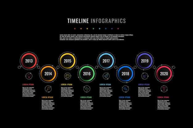Modello di infografica timeline orizzontale con indicazione dell'anno di elementi rotondi e caselle di testo