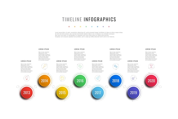Modello di infografica timeline orizzontale con indicatori di anno di elementi rotondi e caselle di testo