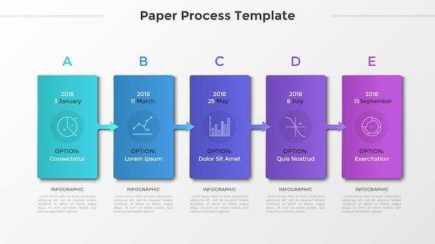 Cronologia orizzontale con 5 carte collegate da frecce, simboli di linee sottili e posto per testo o descrizione. processo di visualizzazione dello sviluppo. layout di progettazione infografica moderna. illustrazione vettoriale.