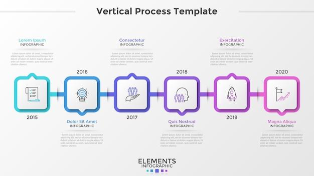 Cronologia orizzontale con 6 elementi quadrati di carta bianca, icone a linea sottile e indicazione dell'anno. visualizzazione dell'andamento annuale dell'azienda. modello di progettazione infografica. illustrazione di vettore per l'opuscolo.