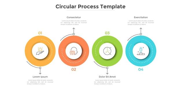 Timeline orizzontale con quattro elementi circolari colorati. modello di progettazione infografica creativa. concetto di 4 fasi strategiche del processo di sviluppo di avvio. illustrazione vettoriale piatto per barra di avanzamento.