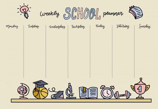 Orario orizzontale per la scuola elementare. modello di pianificatore settimanale con oggetti di scuola di cartone animato