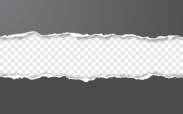 Bordo orizzontale della carta strappata. strisce di carta orizzontali squadrate strappate.