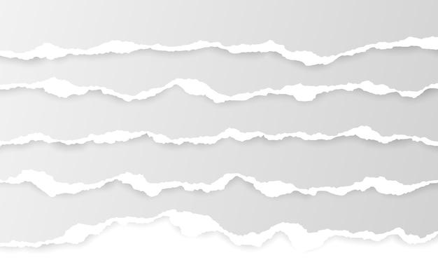 Bordo orizzontale della carta strappata. strisce di carta bianche orizzontali squadrate strappate.