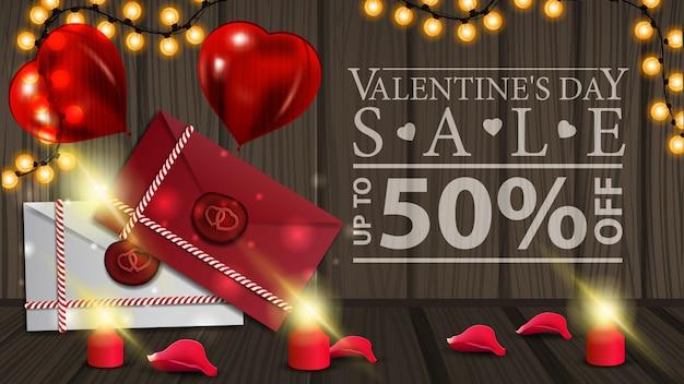 Insegna di sconto orizzontale di san valentino con lettere d'amore