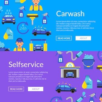 Banner web orizzontale impostato con icone piane di autolavaggio colorato Vettore Premium