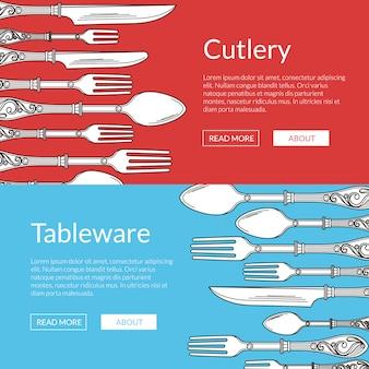 Banner web orizzontale di illustrazione set con stoviglie disegnati a mano. forchetta e cucchiaio