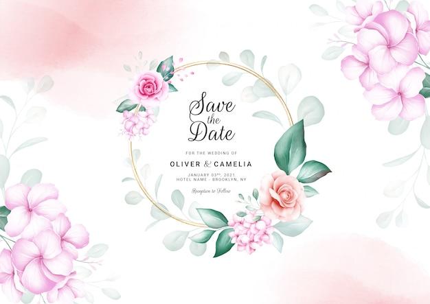 Modello di carta di invito matrimonio orizzontale con cornice floreale dell'acquerello e bordo.