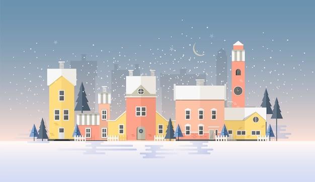 Paesaggio urbano invernale orizzontale con città in precipitazioni nevose
