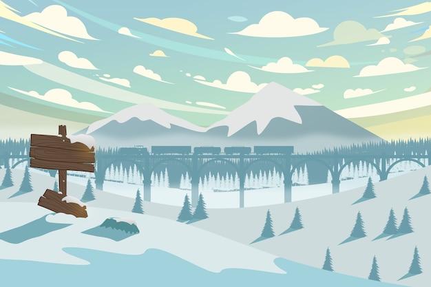 Paesaggio invernale orizzontale con montagne, treni e foreste