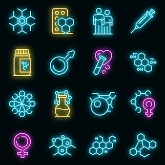 Set di icone di ormoni. delineare l'insieme di icone vettoriali di ormoni colore neon su nero