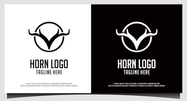 Design del logo del cervo in corno