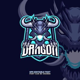 Modello di logo della mascotte del drago del corno
