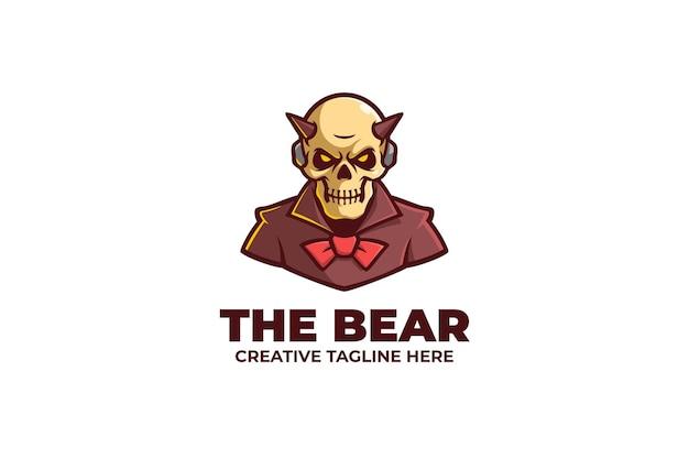 Logo della mascotte del demone del cranio del corno