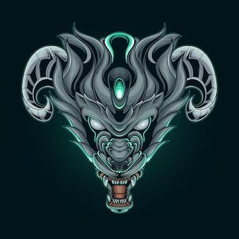 Illustrazione vettoriale testa di lupo cornuto