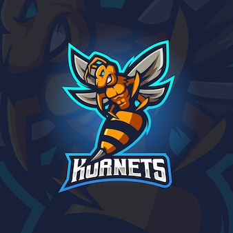 Illustrazione di progettazione di logo della mascotte di e-sport dei calabroni