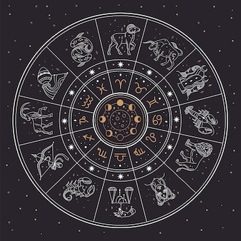 Cerchio di astrologia oroscopo con segni zodiacali e costellazioni. gemelli, cancro, leone, illustrazione di vettore della raccolta del segno zodiacale mistico. calendario con diverse fasi lunari nel cielo notturno