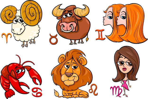 Set di segni zodiacali oroscopo