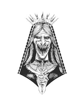 Ragazza orribile con bocca e occhi spaventosi illustrazione vettoriale di schizzo disegnato a mano