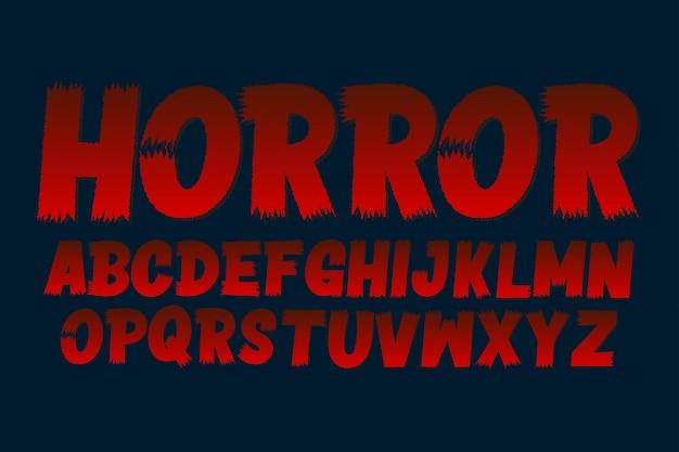 Carattere tipografico pennello horror, set di alfabeto pennello maiuscolo