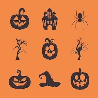 Horror castle e halloween silhouette icon set su sfondo arancione, design colorato