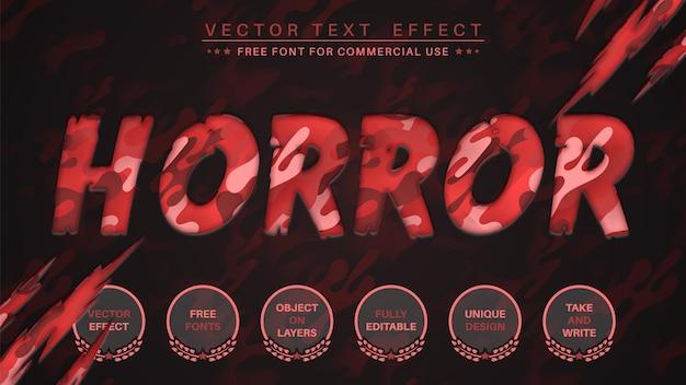 Stile di carattere modificabile con effetto di modifica del testo della carta horror