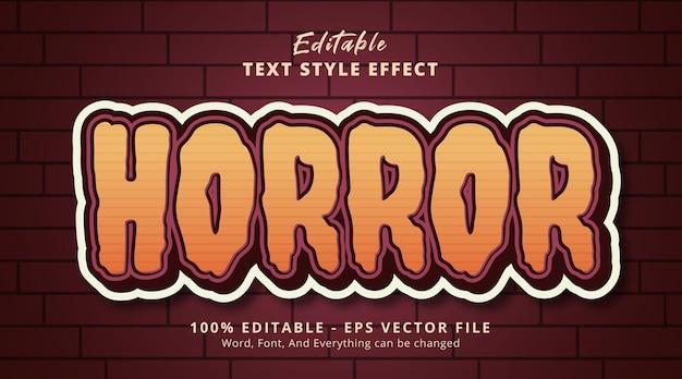 Testo horror su combinazione marrone effetto testo, effetto testo modificabile