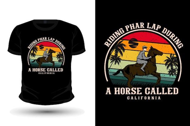 Un cavallo chiamato design della maglietta del mockup dell'illustrazione della merce di pharlap