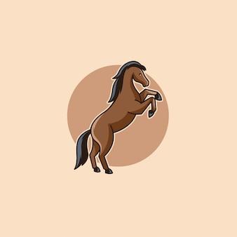 Logo di vettore dell'illustrazione di salto del fumetto del cavallo.