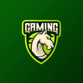Concetto atletico di logo di vettore del club della testa di cavallo isolato su spazio scuro.