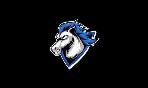 Gioco di logo esport testa di cavallo