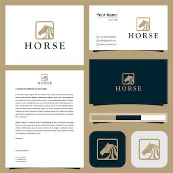 Testa di cavallo in quadrato logo con biglietto da visita