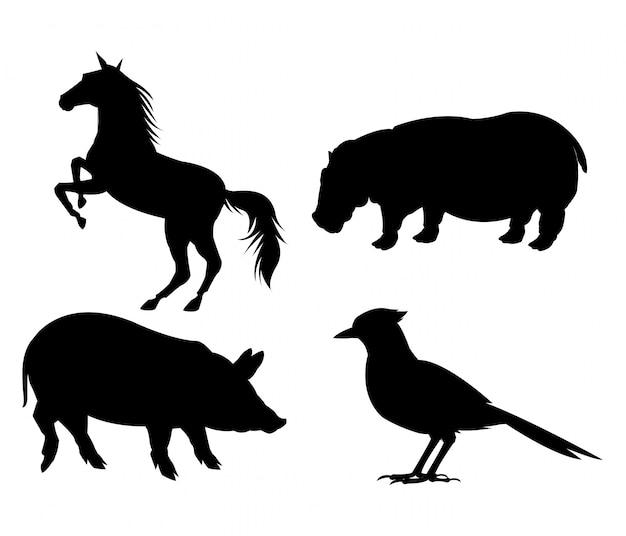 Icona di maiale e uccello di ippopotamo di cavallo