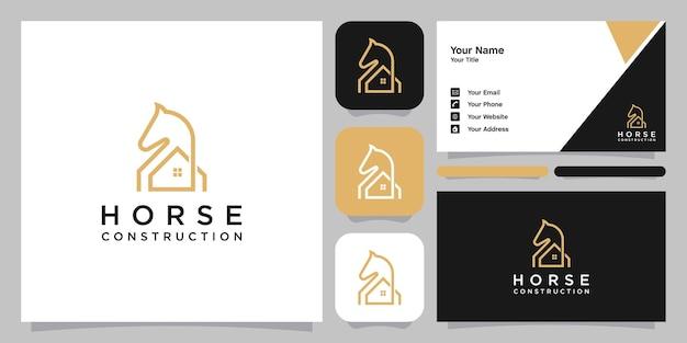 Logo e biglietto da visita del modello di simbolo dell'icona del logo della casa del cavallo