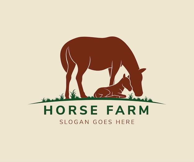 Terra di cavallo ed erba logo template design vettoriale. colori marrone e verde.