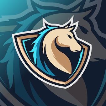 Logo della mascotte del cavallo esport
