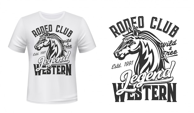 Cavallo mustang mascotte t-shirt stampa vettore stallone