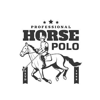 Icona dello sport polo cavallo, fantino equino equitazione e club di addestramento, segno di vettore. torneo di polo o sport del fantino, corse di cavalli e corse a ostacoli sull'ippodromo