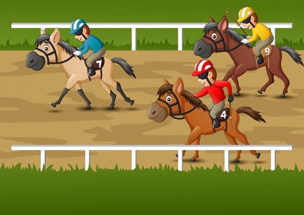 Cartone animato di corse di cavalli